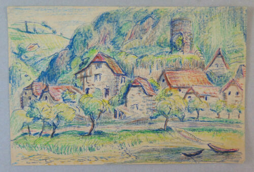 Old Drawing landscape Viellevie Cantal Entraygues France Years 30 BM53.2