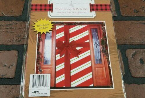 """Christmas Door Cover & Bow Set  30"""" X 60"""" Red Stripe Wrap  Plastic Door Cover"""