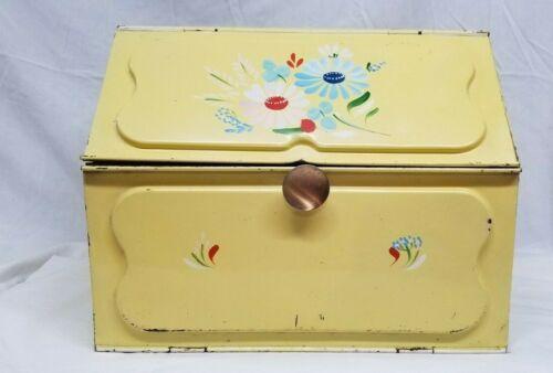 Vintage Metal Bread Box Pie Safe Double Door Yellow Flowers Moon Stars 1950s