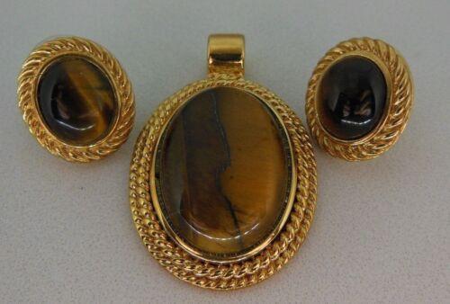 ROMAN RMN TIGERS EYE Pendant Earrings Lot Genuine Stone Gold Tone Signed Vintage