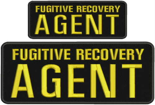 Fugitive Recovery Agent embroidery patches 4x10 and 2.5x6 hook yellow letters