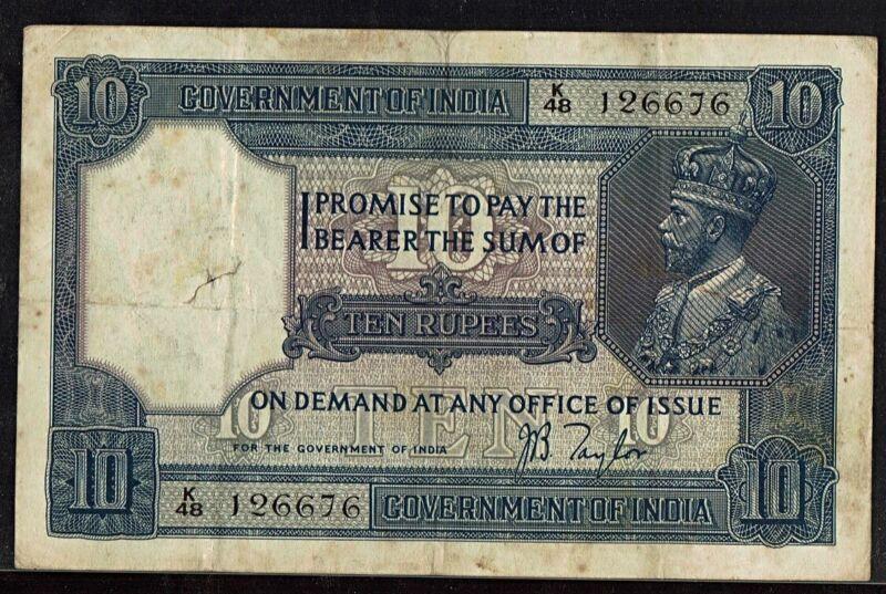 British India | 10 Rs (1917) | J B Taylor | PICK#7b | VF+