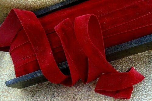 """VINTAGE 1"""" WIDE - DEEP RED COTTON VELVET RIBBON - BY THE YARD - NOS-woven edge"""