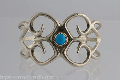 Pawn Native American Navajo Cast Sterling Silver Turquoise Stone Bracelet