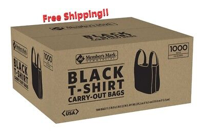 New 1000 Black T-shirt Carry Out Retail Plastic Bags Recyclable Grocery Shopping