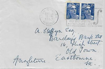 FRANCE 1953 COVER WITH PAIR 15F FROM LYON     TO GB    MY REF  171