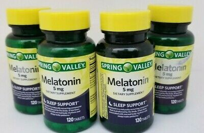 Spring Valley 5mg Melatonin Sleep Support 120 Tablets (4 Bottles) 08/19+ ()