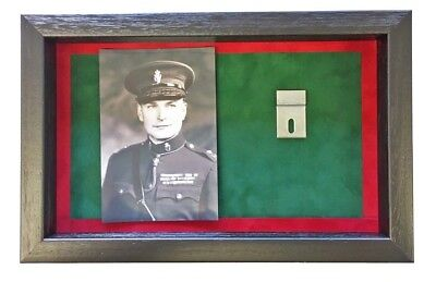 Large RUC Medal Display Case With Photograph For 2 Medals. Black Frame