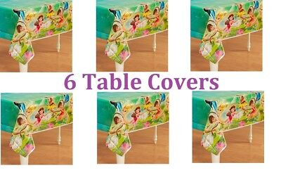 Tinkerbell Table Cover (6 pc Disney Tinkerbell & Fairies Plastic Table Cover Party Tablecloth Birthday)