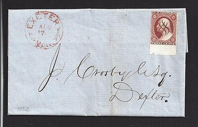 EXETER, MAINE 1852 Folded Business Letter sent to DEXTER. Penobscot -