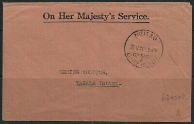 "Tuvalu 1961 ""On Her Majesty's Service"" Letter Sent to Tarawa Island, Niutao CDS"