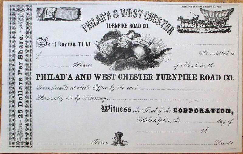 Philadephia & West Chester Turnpike Road Co. 1860 Stock Certificate - PA Penn