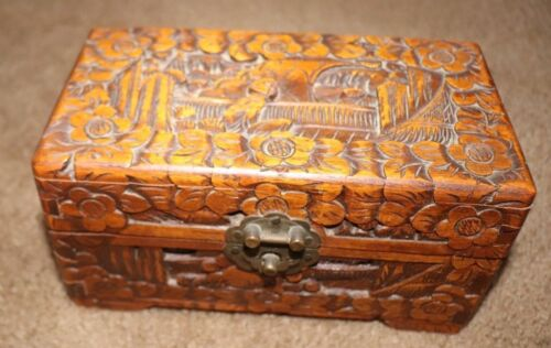 Vintage Chinese Hand Carved Jewelry Box