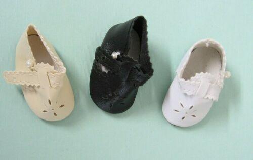 """T-Strap Doll Shoe w/ Cutout  2"""" X 1"""" White, Cream, Black fits P-90, P-91 Toni"""