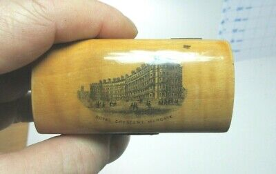 ANTIQUE MAUCHLINE SMALL WOODEN TRINKET BOX  ROYAL CRESCENT MARGATE