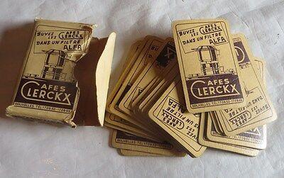 JEU DE CARTES PUBLICITAIRE 51 CARTES CAFE CLERCKX BRUXELLES ÉTAT : ETUI DECHIRE