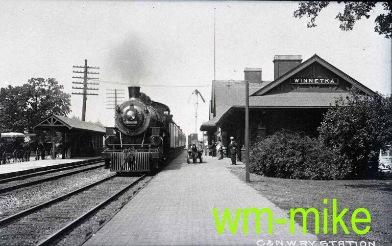 #B-073 CNW C&NW steam scene at Winnetka IL COPY B&W Negative