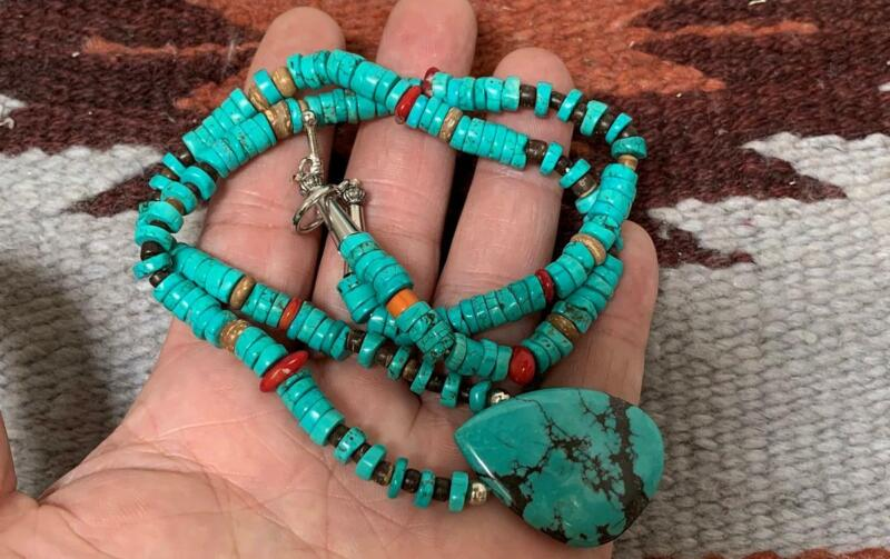 """authentic natural turquoise heishi pendant necklace/20"""" length /(g171a-w1)"""