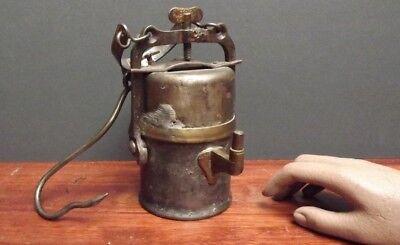 Miners Lamp [ Tin Miners Lamp ] C1840  { Original Hanging Cradle }