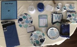 Blue whale baby shower items