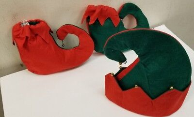 3 PC  ELF Hat and Shoes Set Child Christmas Holiday Costume