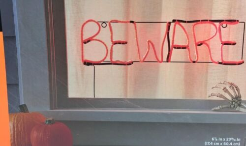 Hyde and Eek Boutique flickering Beware LED sign 23 inches NEW Indoor Black Wire