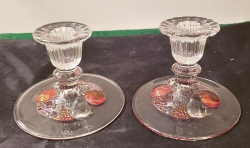 """2 WESTMORELAND GLASS CANDLE HOLDERS - DELLA ROBBIA - 3 1/4"""" TALL"""