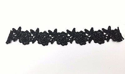 (2 Pcs Black Gothic Lolita Lace Rose Flower Collar Choker Necklace)