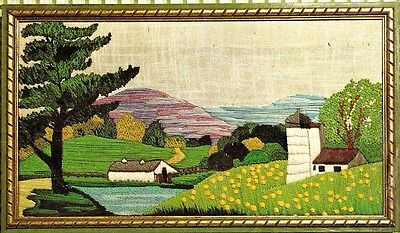 "Vintage Wilson ""Summer Scene"" Lake Farm Landscape Crewel Embroidery KIt"