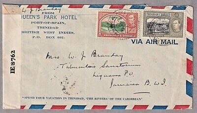 1944 Airmail Cover From Trinada & TobagoTo Jamaica Opened By Examiner IE/8762