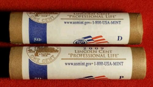 2009 P & D US Mint Wrapped Lincoln Cent Penny 2 Rolls Professional Life LP3