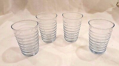 """Four Vintage Anchor Hocking Light Blue 3.5"""" AHC 42 Ribbed Banded Glass Tumblers"""