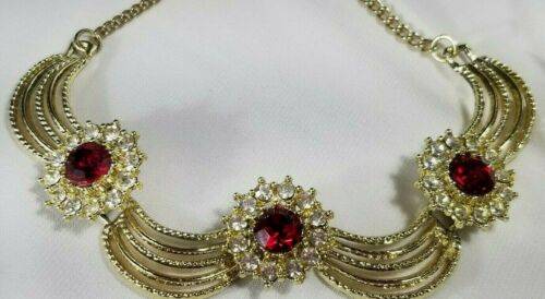 Vintage Gold Estate Ruby Red Rhinestone Drape Holiday Necklace