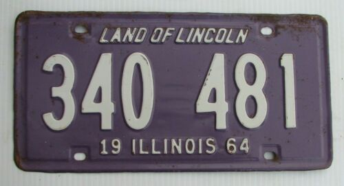 "1964 ILLINOIS PASSENGER AUTO LICENSE PLATE "" 340 481 "" IL 64 LAND LINCOLN PURPLE"