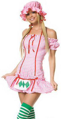 Country Strawberry Girl Halloween Costume sz L NEW Leg Avenue Womens Pink Dress](Country Girl Halloween Costumes)