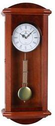 Verona Large Red Wooden Finish Wall Clock w/ Elegant Pendulum