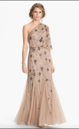 Adrianna Papell Beaded One Shoulder Blouson Gown Nude CHAMPAGNE ALL SIZES