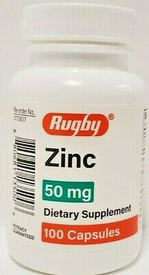 Rugby Zinc 50 mg 100 Capsules Each -Expiration Date 02-2022