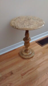 Vintage 1960's small round solid marble pedestal table