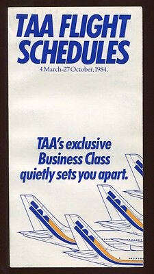 TAA TRANS AUSTRALIA AIRLINES TIMETABLE SUMMER 1984