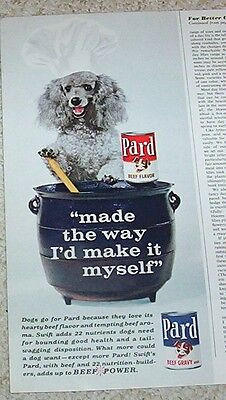 1963 vintage ad - Swift's Pard dog food - cute POODLE chef cooking OLD Print AD
