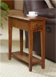 Superieur Chair Side End Table Wood Oak Finish Storage Drawer Bottom Shelf Small  Furniture