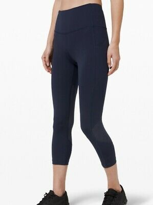 """lululemon Pace Rival High Rise Crop 22"""" Navy Size Us8 Uk12 Rrp £78"""