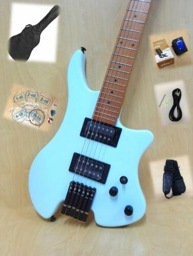 Haze Headless Electric Guitar,H-H,Solid Body,Light Blue+Free Gig Bag. HZHL-1A BL
