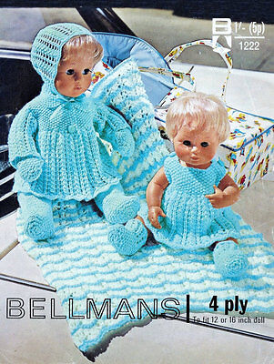 vintage dolls clothes set 4ply knitting pattern