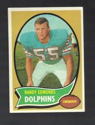 1970 TOPPS RANDY EDMUNDS #34 MIAMI DOLPHINS (ONLY ONE CARD) - Dolphin One Card