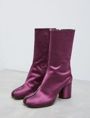 NIB MAISON MARTIN MARGIELA split toe purple bordeaux satin Tabi boots SZ 39 EU for sale  Brooklyn