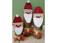 3 Hand Made Wooden Father Christmas