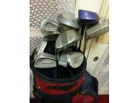 Set of golf clubs and bag.