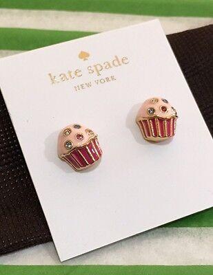 Kate Spade pink cupcake 'Take the Cake' stud earrings w/jeweled crystal+dust bag